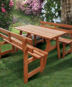 Bidesenal Ahşap Banklı Masa Takımı Piknik Masa Bahçe Kamp Masalı Oturma Seti