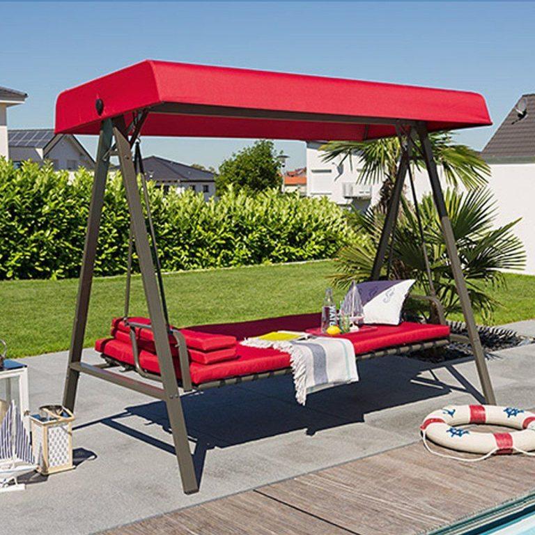 Bahçe Salıncak Yataklı Bahçe Salıncağı 3 Kişilik Kırmızı Renk Tam Yatak Olabilme 230 Cm Genişlik