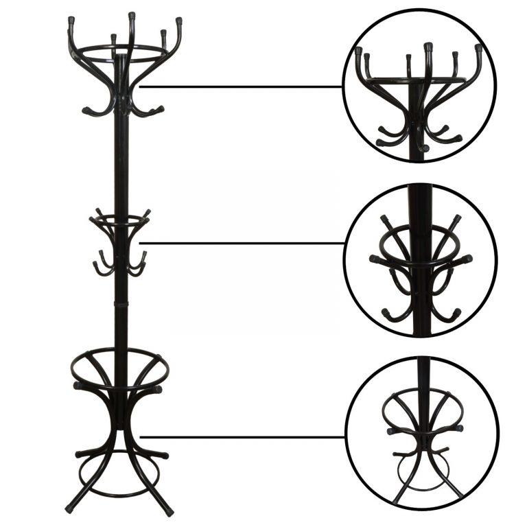 Bidesenal Ayaklı Metal Askılık 2 Katlı Siyah Renk Portmanto