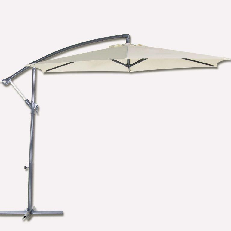 Bidesenal 6 Telli Bahçe Şemsiyesi Ampul Şemsiye Balkon Şemsiye 3 Mt Krem Renk Makaralı Katlanır Gölgelik