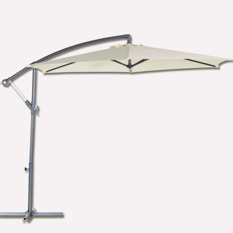 Bidesenal Bahçe Şemsiyesi 6 Telli Ampul Şemsiye Balkon Şemsiye 3 M Krem Renk Makaralı Katlanır Gölgelik Kumaş Koruma Kılıfı Dahil Satışdır.