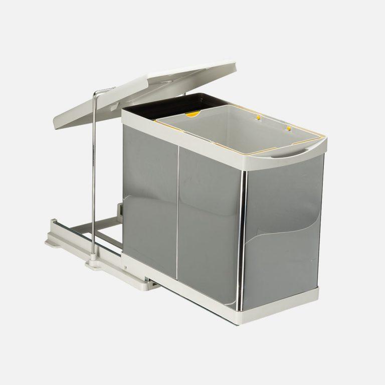 Raylı Dolap İçi Çöp Kovası Paslanmaz Krom 20+1 Lt Litre Dolap İçi Raylı Çöp Tenekesi Raylı Çöp Tenekesi